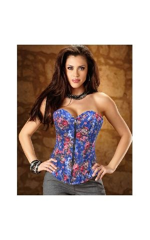 af36a49958bdb New Style Blue Floral Strapless Corsets Special Occasion Shapewear ...