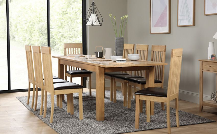 Hamilton Oak 180 230cm Extending Dining Table With 8 Oxford