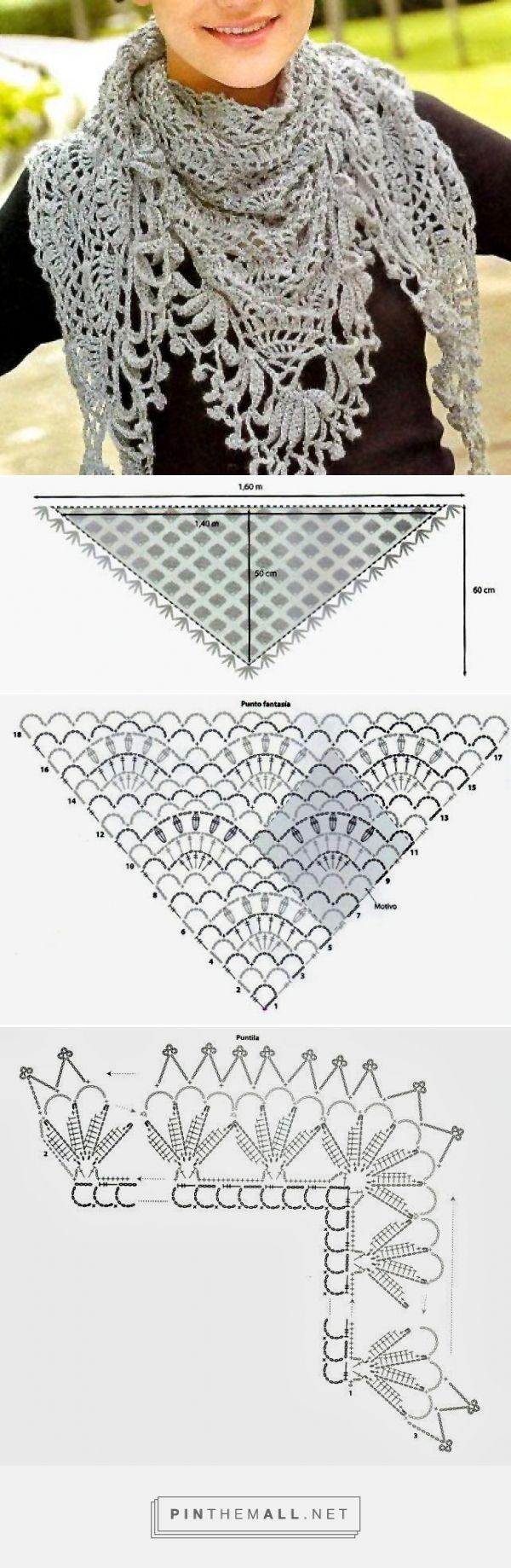 tejidos artesanales en crochet: chal triangular tejido en crochet ...