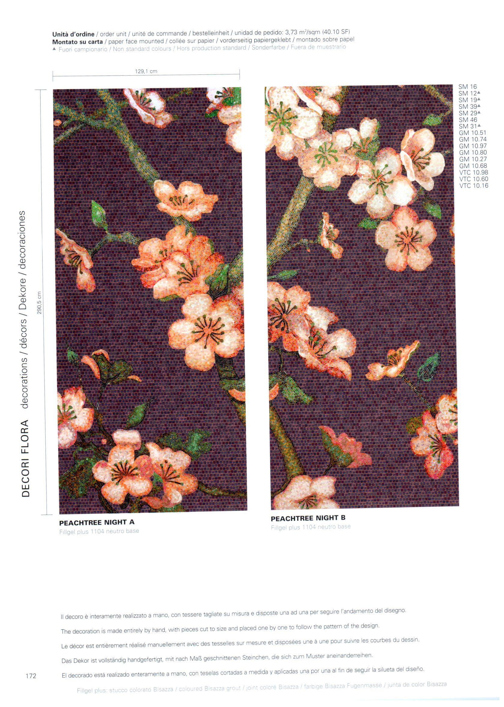 Flora Decor Tile Bisazza Decora Flora Peachtree Night  Mosaic Tile  Pinterest