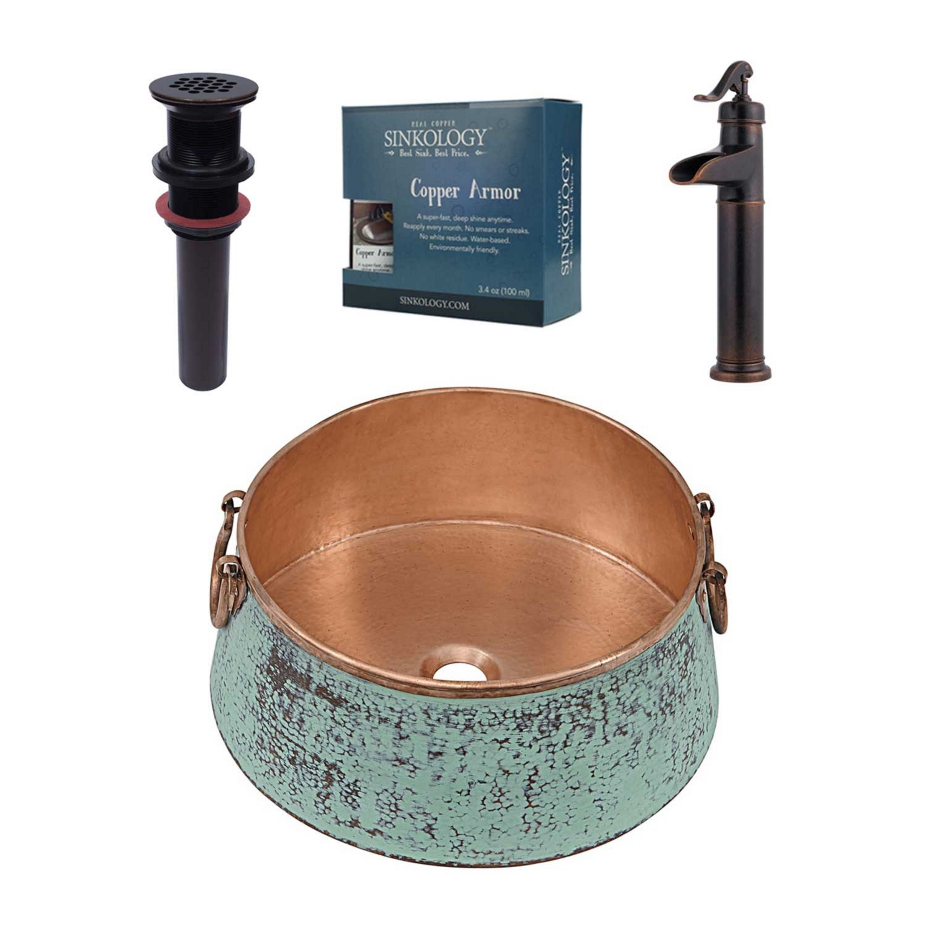 Sinkology Nobel All In One Sink And Ashfield Faucet Kit Brown