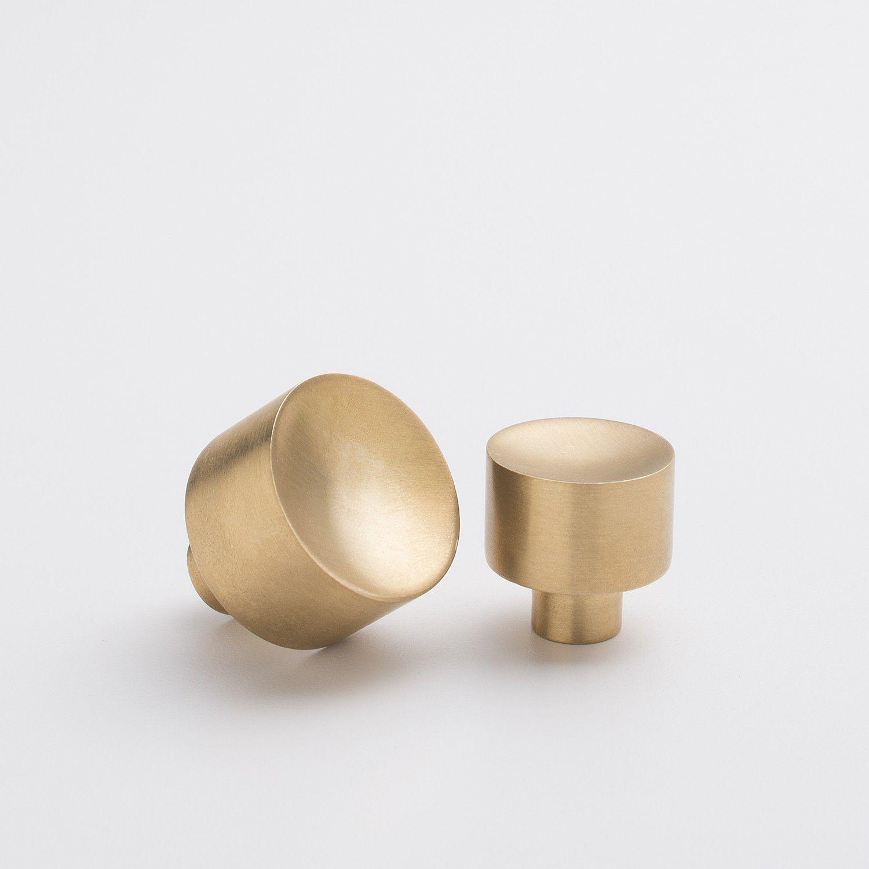 Perfect Mid Century Knob   Natural Brass