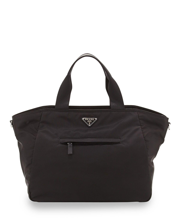 70c3eff34dde Prada Vela Nylon Tote Bag with Strap, Black (Nero) ***diaper bag in navy