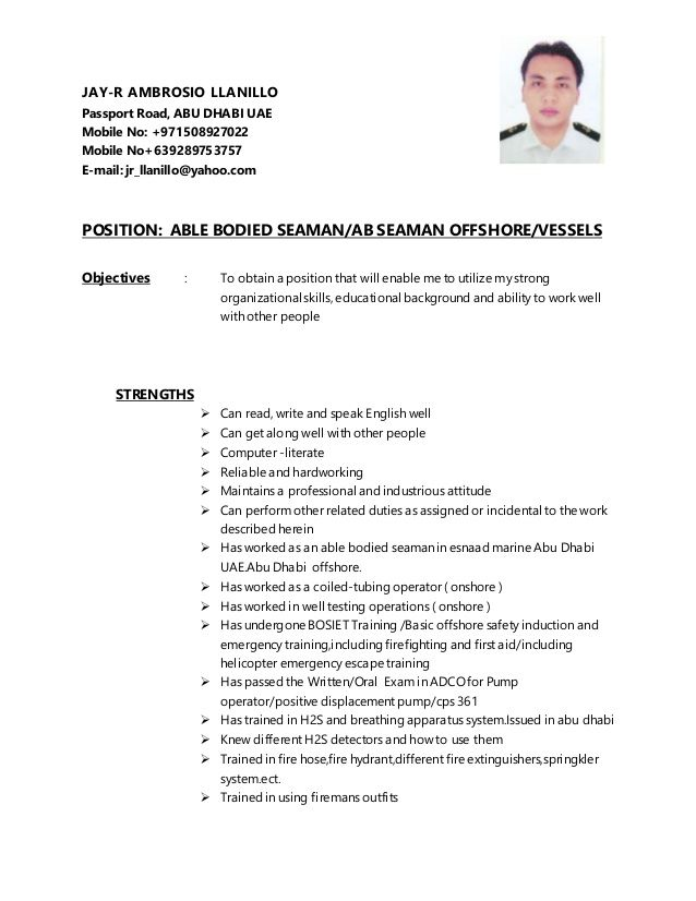 sample resume for seaman - Yahoo Image Search Results | resume ...