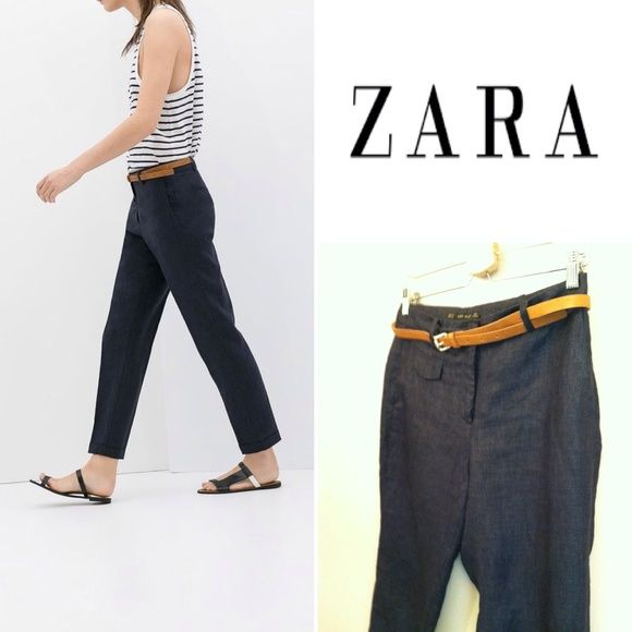 "NWOT Zara navy cropped linen trousers w/tan belt Linen ankle trousers from Zara. Cuffed hem. Zipper fly with hook and button closure. Tan belt included. Two hip pockets. One front coin pocket with flap. Faux back pocket detail. 29"" inseam. 9.5"" rise, fits lower with relaxed feel. 15"" waist laying flat. 12"" leg opening. Never worn!!! Size 4 Zara Pants Ankle & Cropped"
