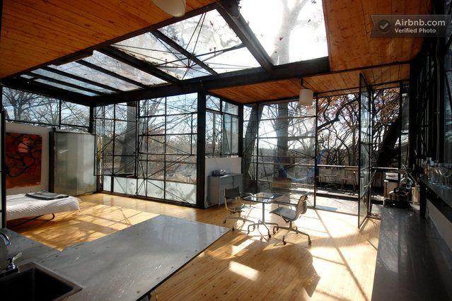 Both Floors Modern Glass Tree House In Atlanta