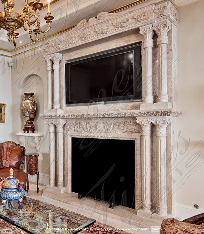 Ornate Marble Overmantel Stone Fireplace Mantel Marble