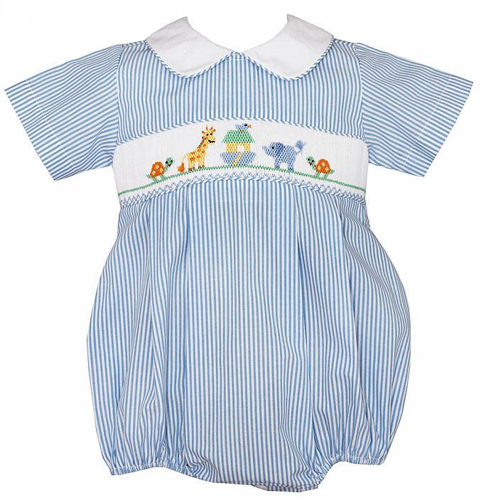 8c5aa44c8 Petit Bebe by Anavini Baby Boys Smocked Noahs Ark Animals Bubble - Blue  Stripes