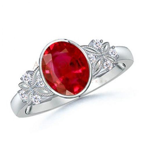 Angara Sunflower Inspired Ruby and Diamond Engagement Ring in Platinum lNLtmw9