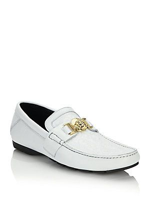 1ccfbab7f9 Versace Vanitas Stitched Leather Loafers - White-Gold - Size 44 (11 ...