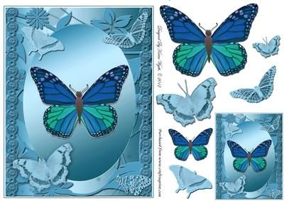 A pretty butterflies quick card in shades of blue with additional toppers/decoupage and a matching gift tag. Makes a lovely card which could be used for a range of occasions.  xk