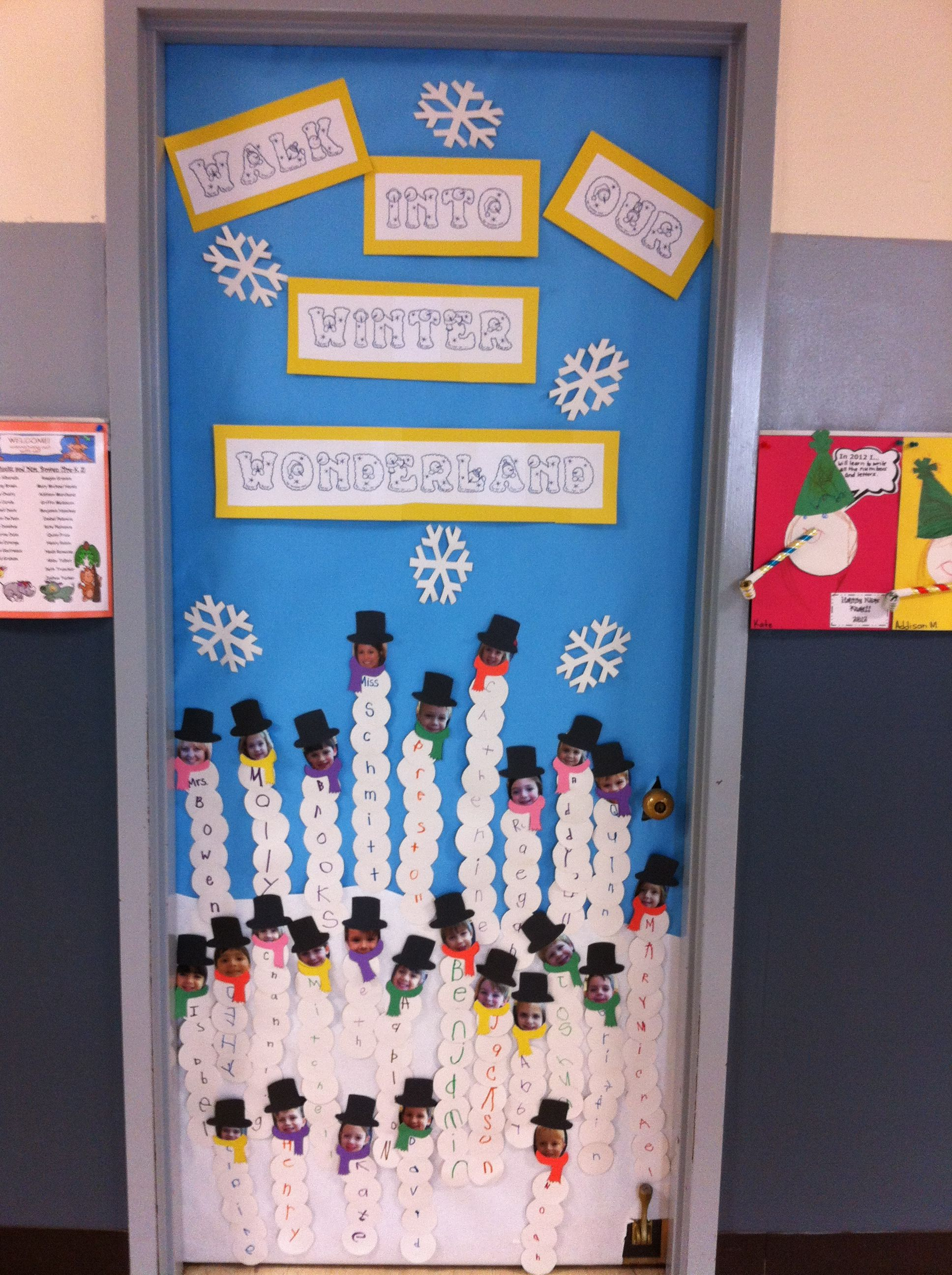Snow classroom door decorations - Classroom Door For January I Made The Snowmen For The Window Last Year