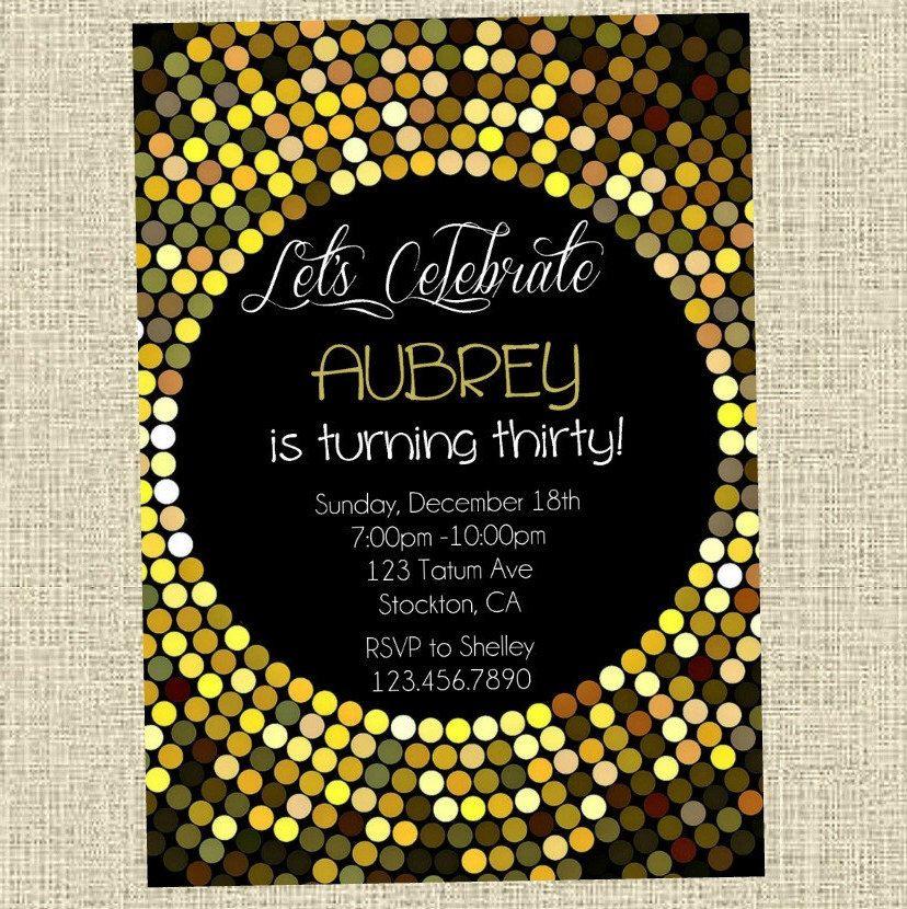 Adult Party Birthday Invitation  Gold Disco Ball Happy Birthday
