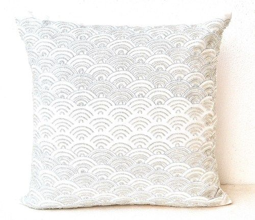 ivory white throw pillows with silver sequins in waves silver pillow - White Decorative Pillows
