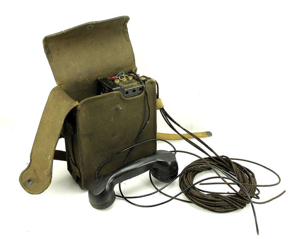 Wwii Us Army Signal Corp Military Ee8b Field Phone Telephone Canvas Case  Ww2