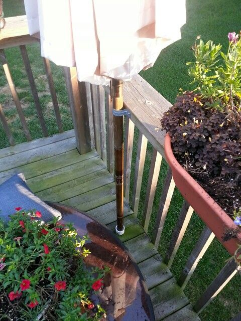My Umbrella Holder Was In The Center Of A Table Have Two Location On Deck To Place Umbrella One For Morning And The Other Backyard Deck Shade Decks Backyard