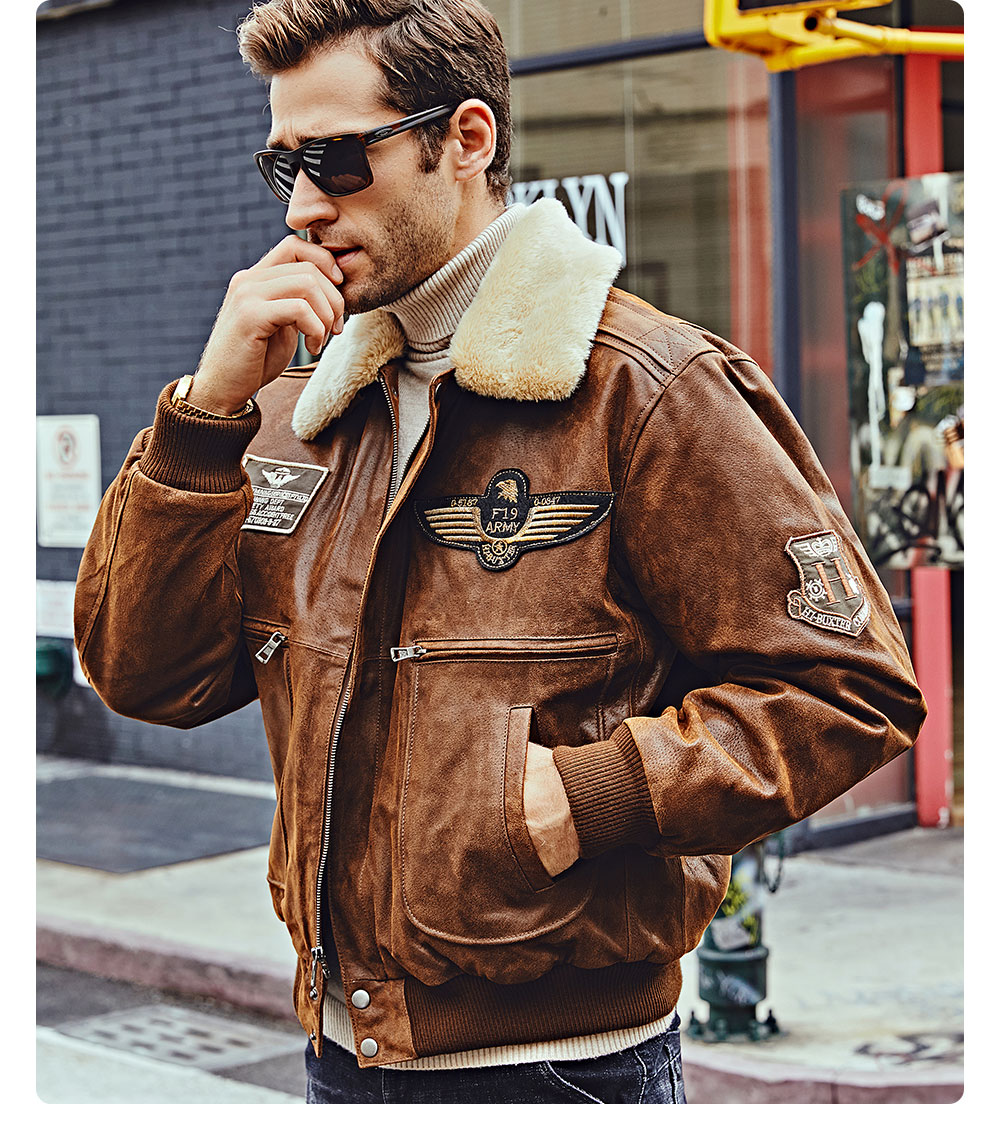 Removable Fur Collar Pigskin Genuine Leather Bomber Jacket Leather Jacket Men Jackets Men Fashion Mens Winter Fashion Outfits [ 1147 x 1000 Pixel ]