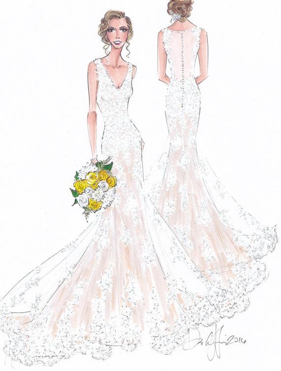 Custom fashion illustration - Custom bridal sketch - wedding gift ...