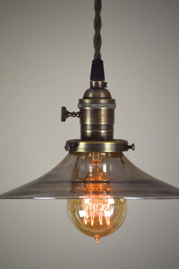 Pendant Light Fixture Smoked 8 Gl Small By Oldebricklighting
