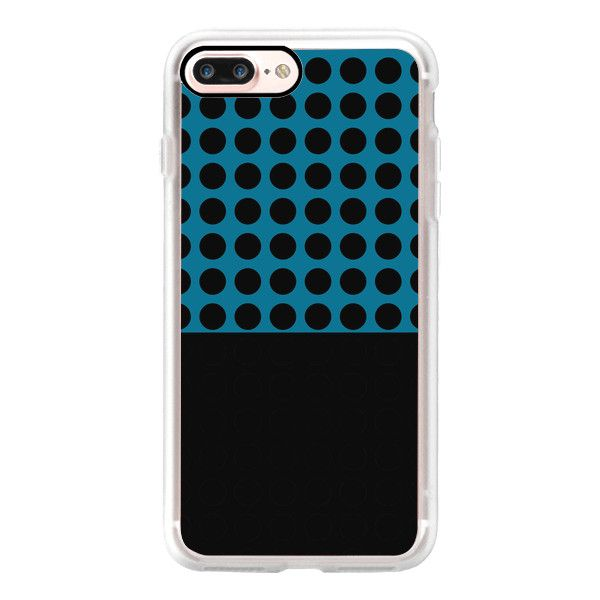 Dark blue and black dots - iPhone 7 Case, iPhone 7 Plus Case, iPhone 7... ($40) ❤ liked on Polyvore featuring accessories, tech accessories, iphone case, apple iphone case, iphone cases, slim iphone case, iphone cover case and polka dot iphone case
