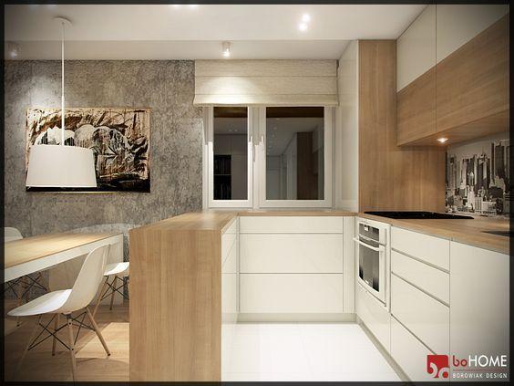 Aranzacja Salonu Z Kuchnia Wystroj Nowoczesny W Kolorach Biel Szary Bez Projekt Wnetrza 9484136 Hompl Kitchen Design Kitchen Cabinet Design Home Kitchens