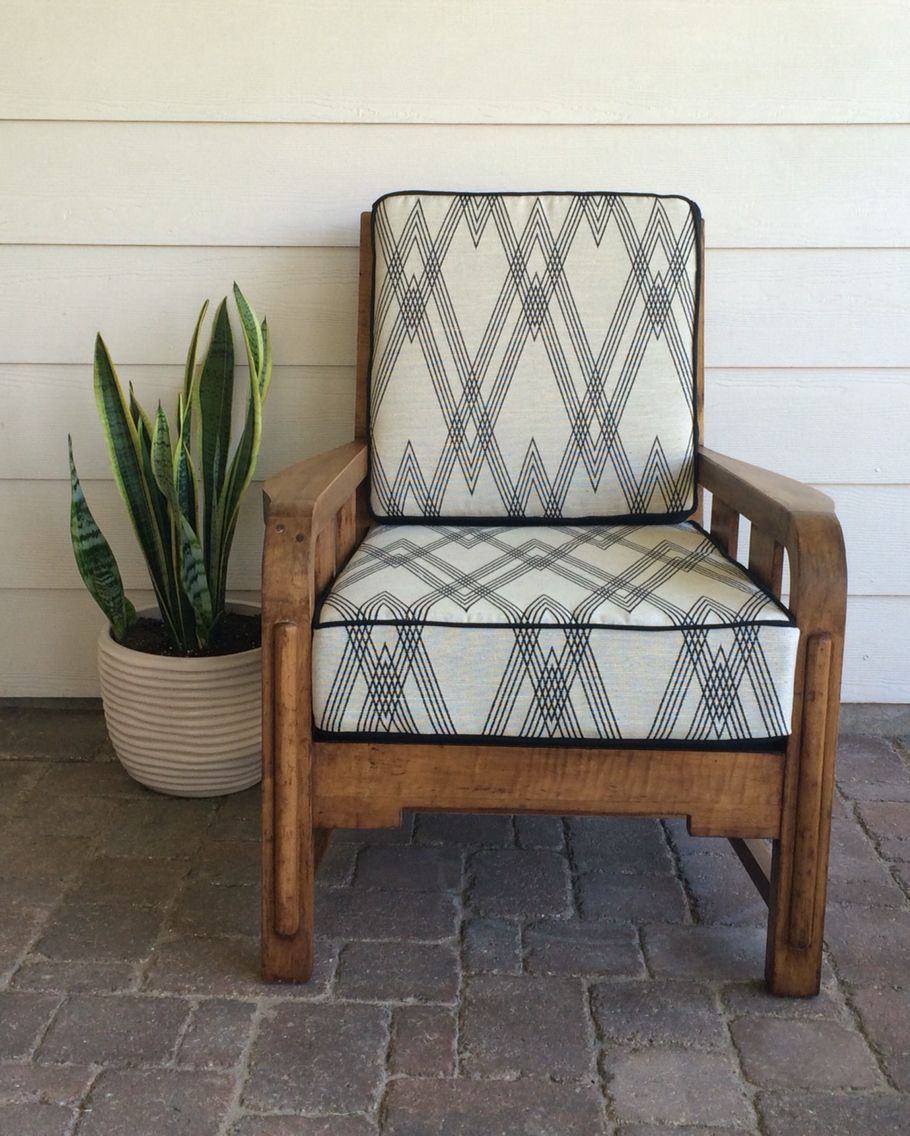 Refurbished Vintage Accent Chair With Nate Berkus Upholstery Fabric.