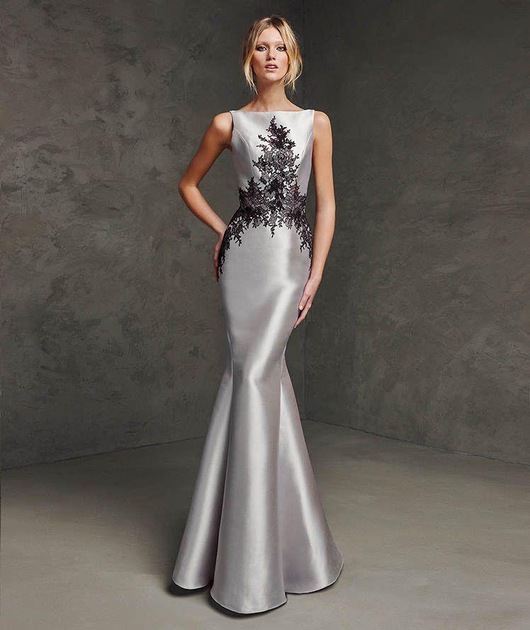 Vestido de mikado y encaje de fiesta vestidos Pinterest Encaje