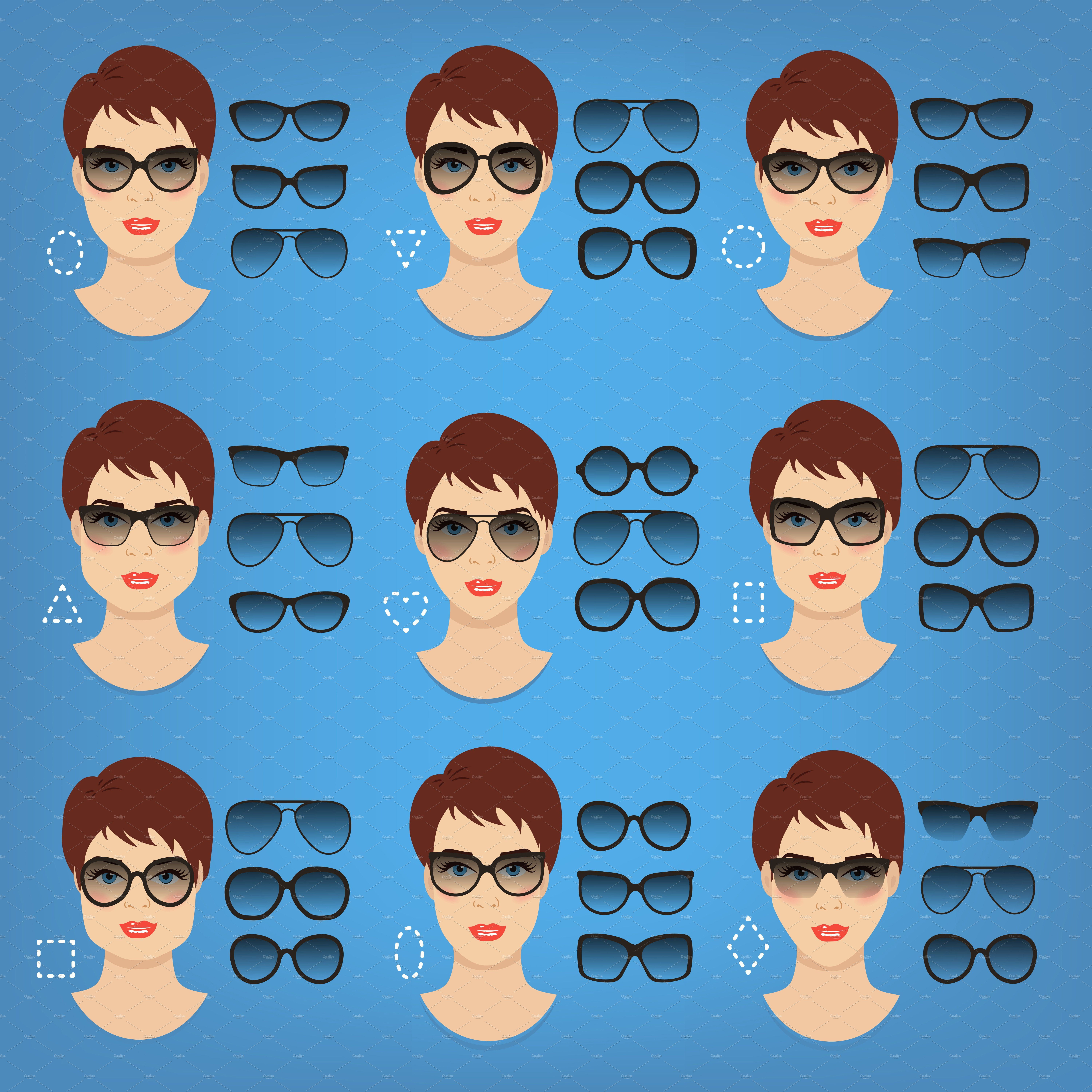 Woman sunglasses shapes. 9 faces. by Cheremuha on