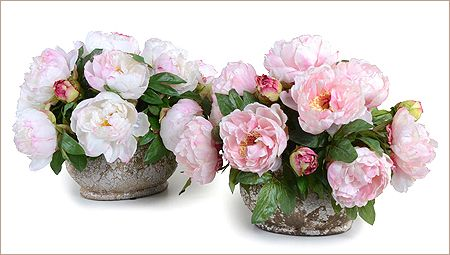 Peony Bouquet: Romantic Peony bouquet in Champagne or Pink is full of faux Peonies and buds is arranged in oval natural terracotta pot with antique white crackle glaze, 16-inch length x 14-inch width x 14-inch height. Please select pink or champagne.