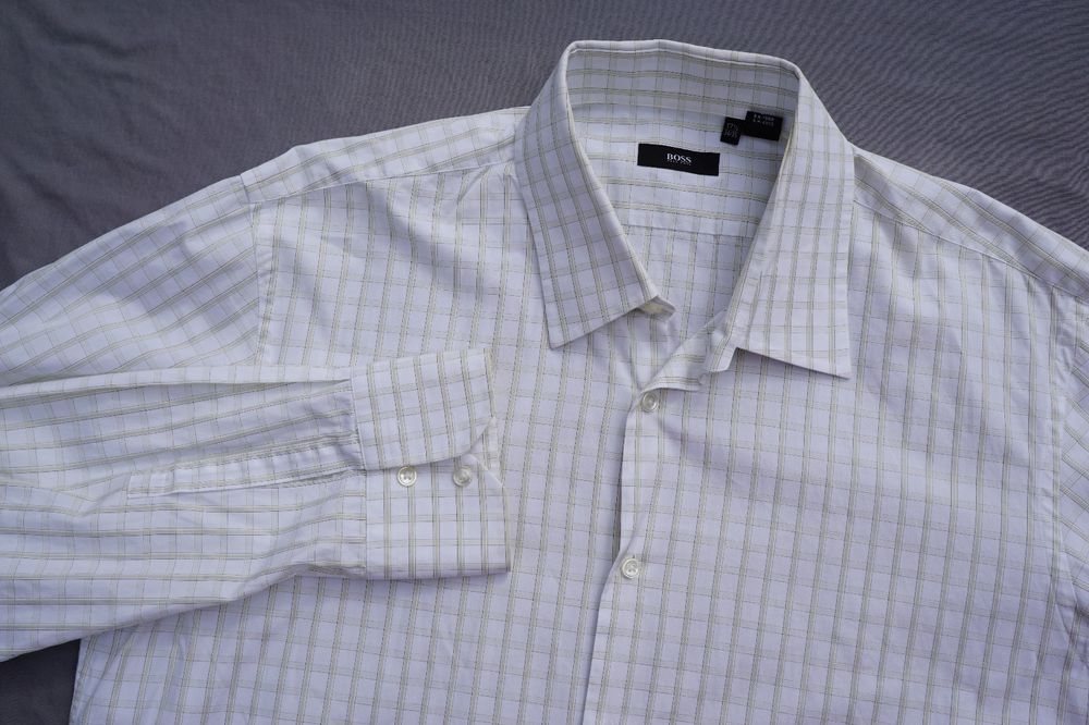 1f4d978fe Hugo Boss Enzo Button Front Dress Shirt. Beige Check Men's 17 34/35. EUC!!  #fashion #clothing #shoes #accessories #mensclothing #shirts (ebay link)