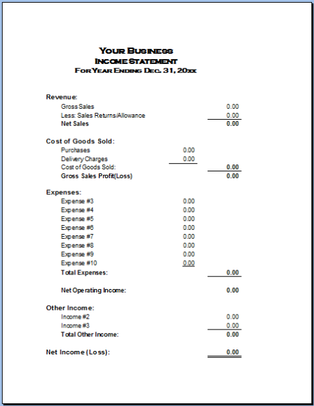 Basic Income Statement Example and Format small business