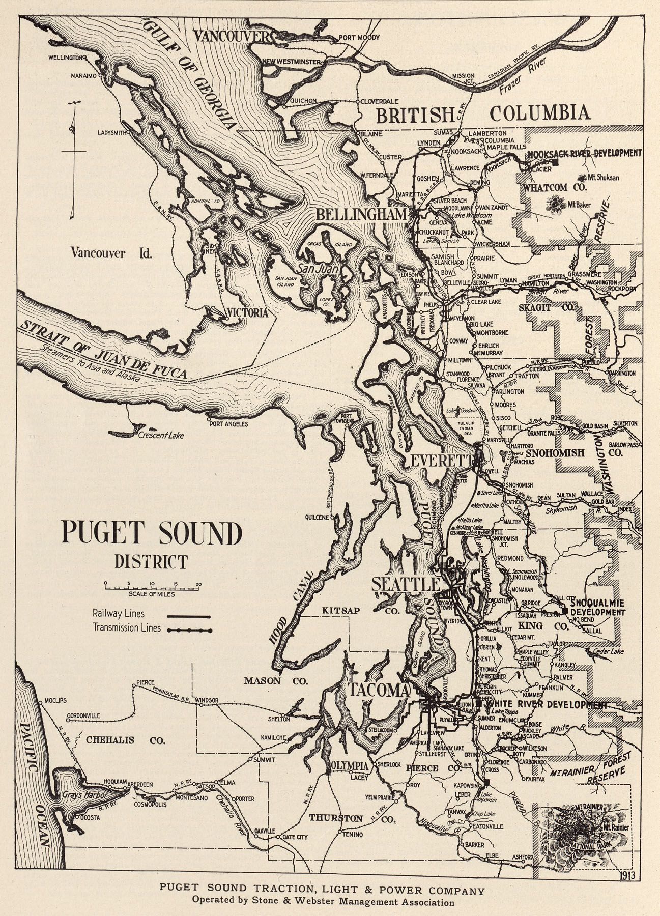 Puget Sound Traction Light Power Map 1913 Map Seattle Map