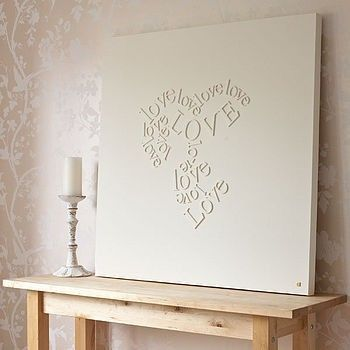 DIY / wooden letters glued to canvas and then painted over in white