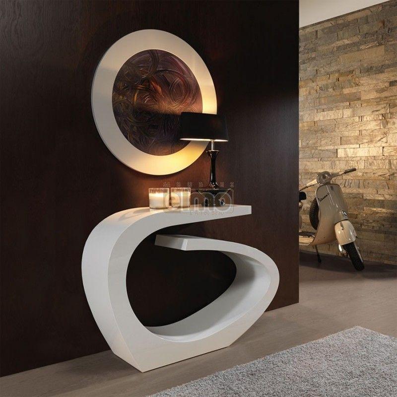 Console Entree Design Moderne Laque Option Miroir Assorti
