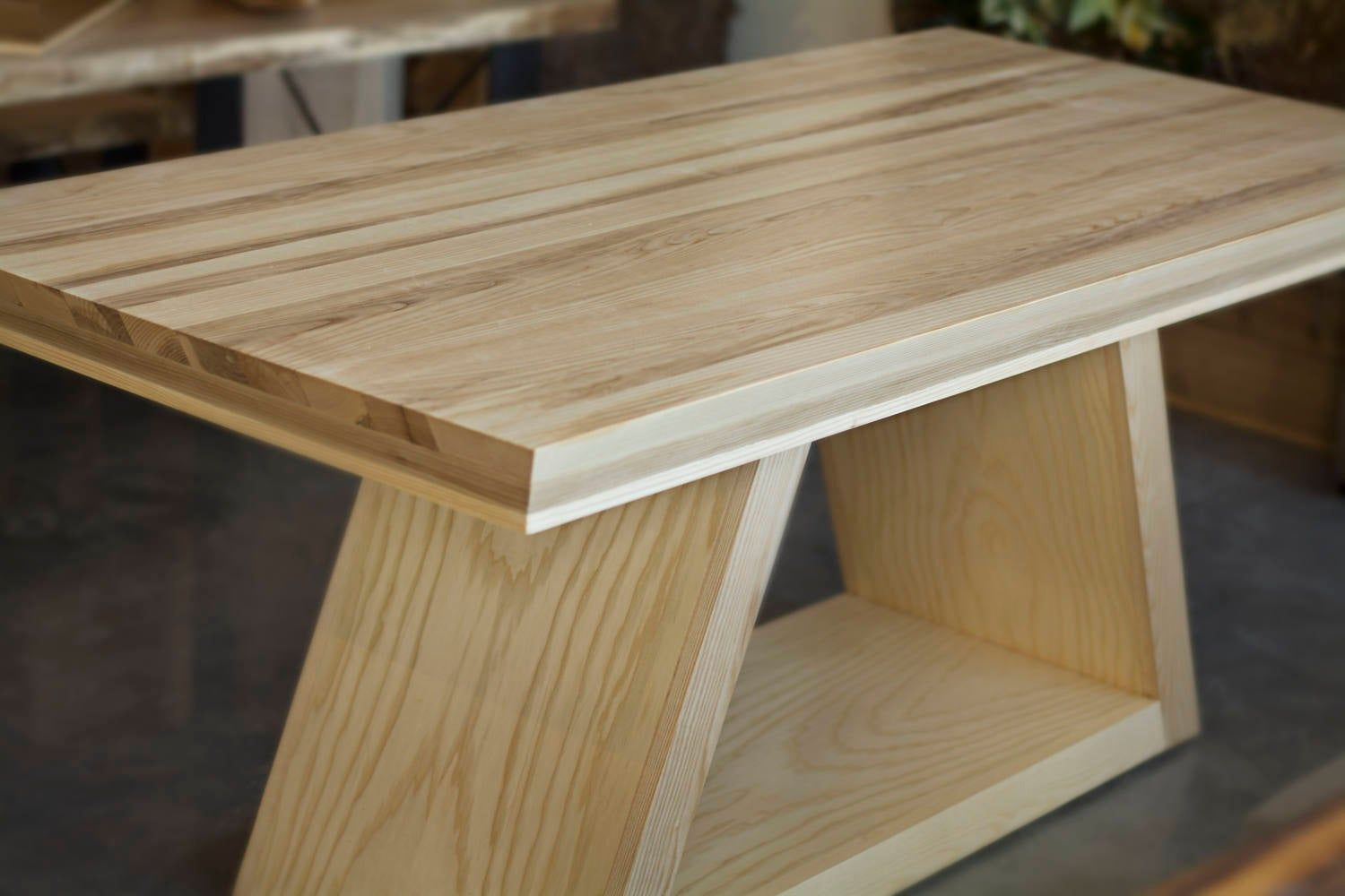Handmade Wood Dining Table In Ash Wood With Angular Pedestal Table