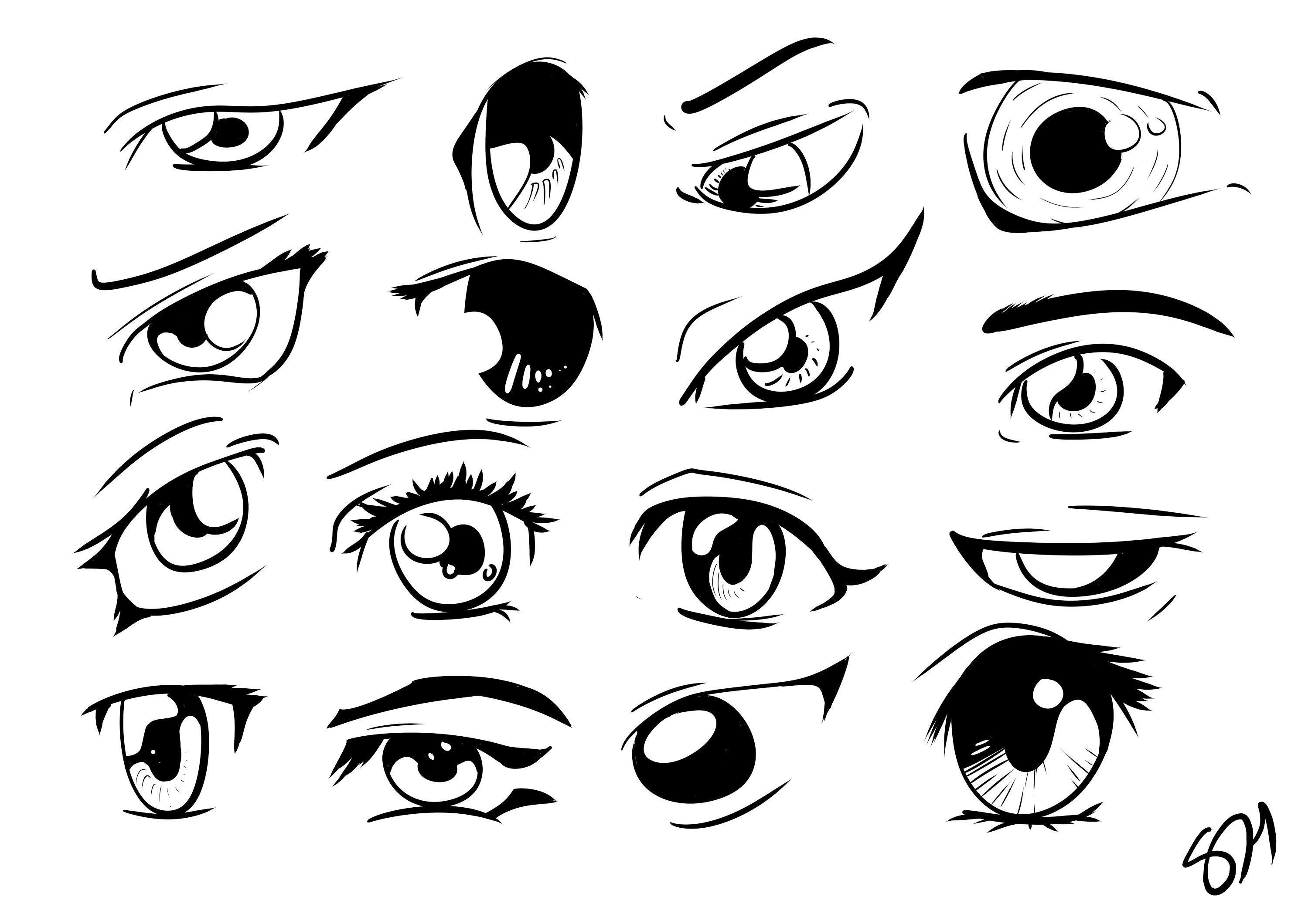 How To Draw Manga Anime Eyes 16 Different Eyes In Manga Studio 5 Anime Eyes Manga Drawing Manga Studio