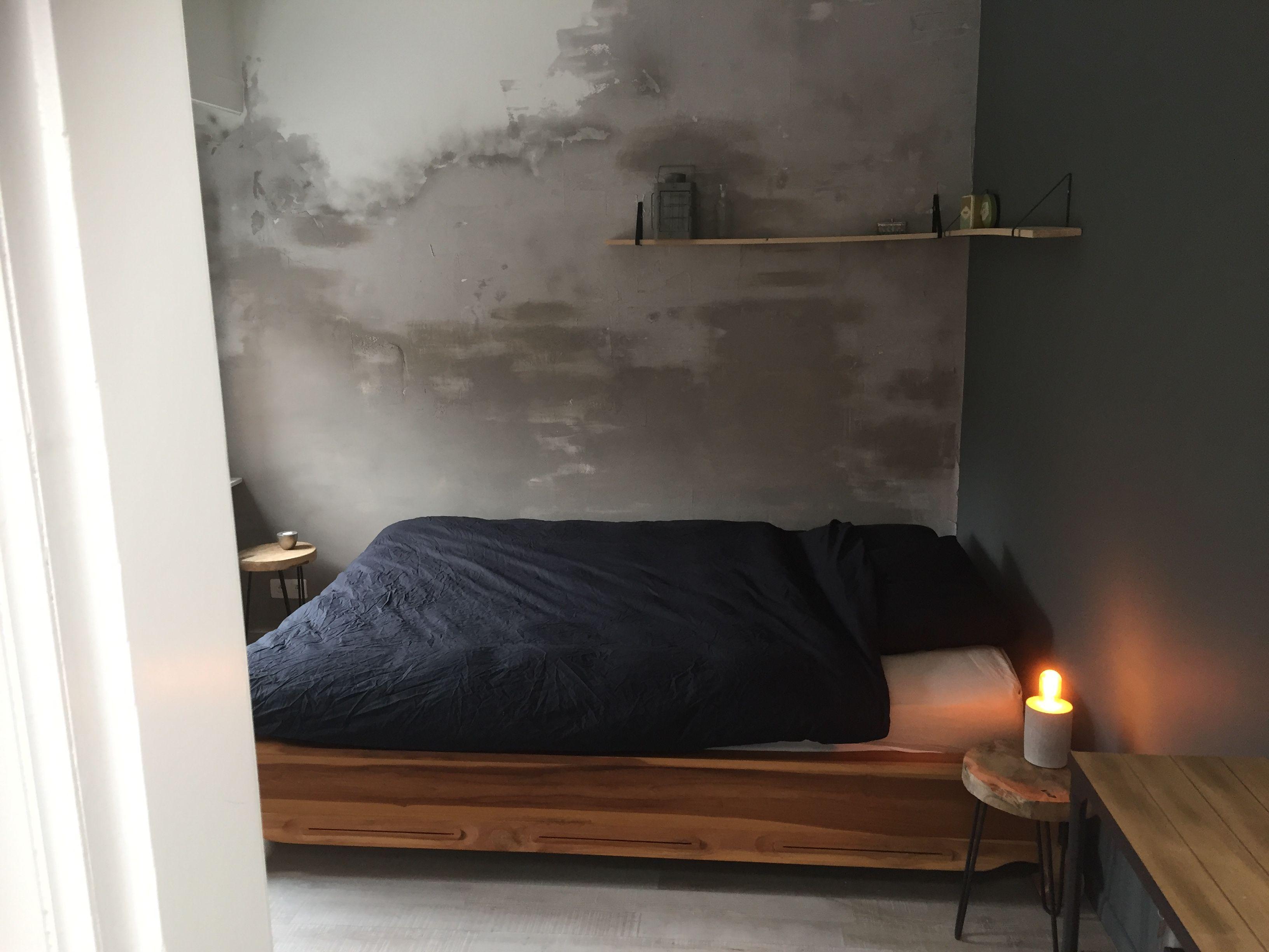 diy oude muur betonlook slaapkamer menhuzze pinterest doe