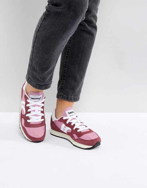 Saucony Dxn Vintage Trainers In Red And Pink Asos Vintage Sneakers Sneakers Saucony