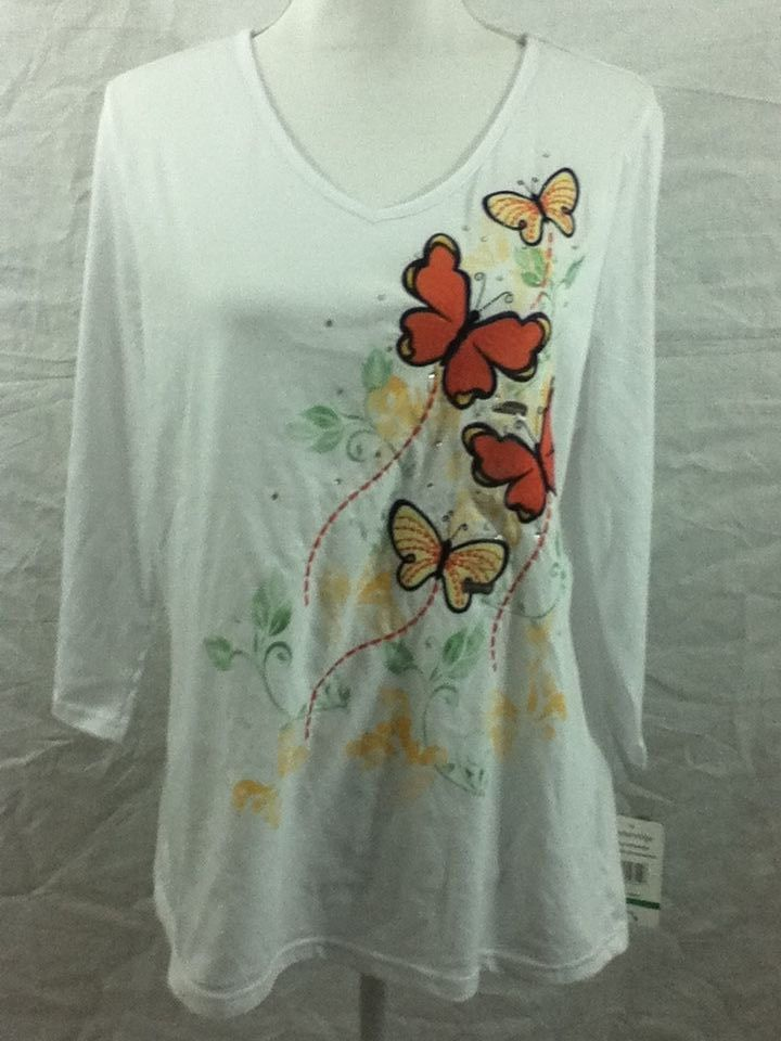 Womens Large Breckenridge Butterfly Embroidered White Shirt Top Stretch  NWT #Breckenridge #KnitTop #Casual
