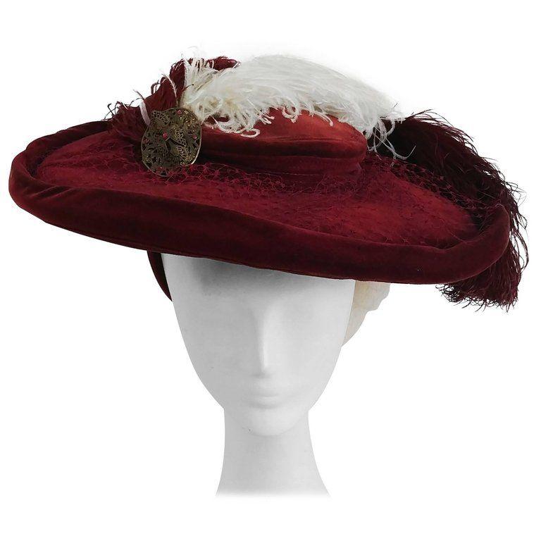 1940s Red Bordeaux Velvet Hat W Ostrich Feathers Velvet Hat Ostrich Feathers Ostrich