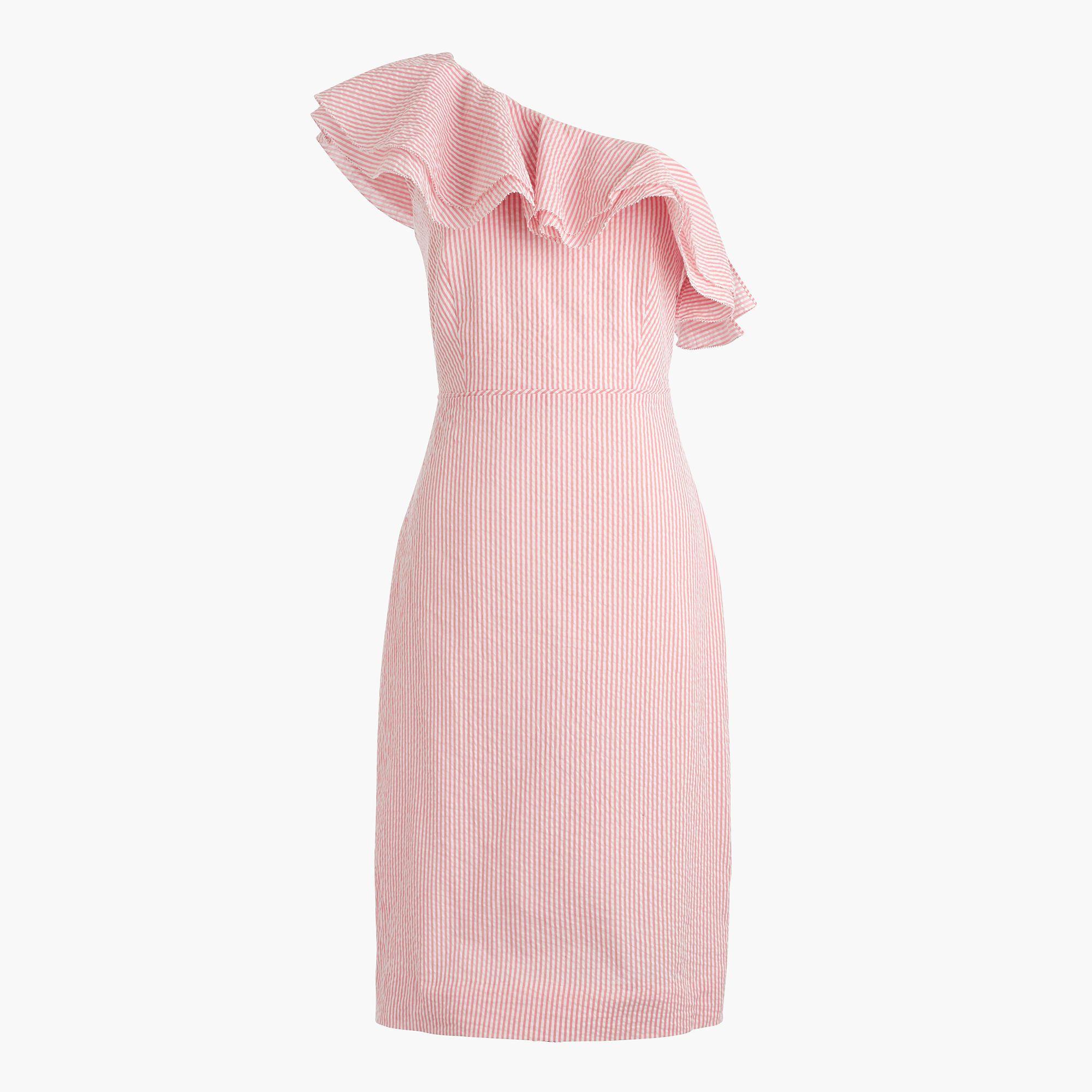 J.Crew Womens One-Shoulder Ruffle Dress In Seersucker (Size 10)