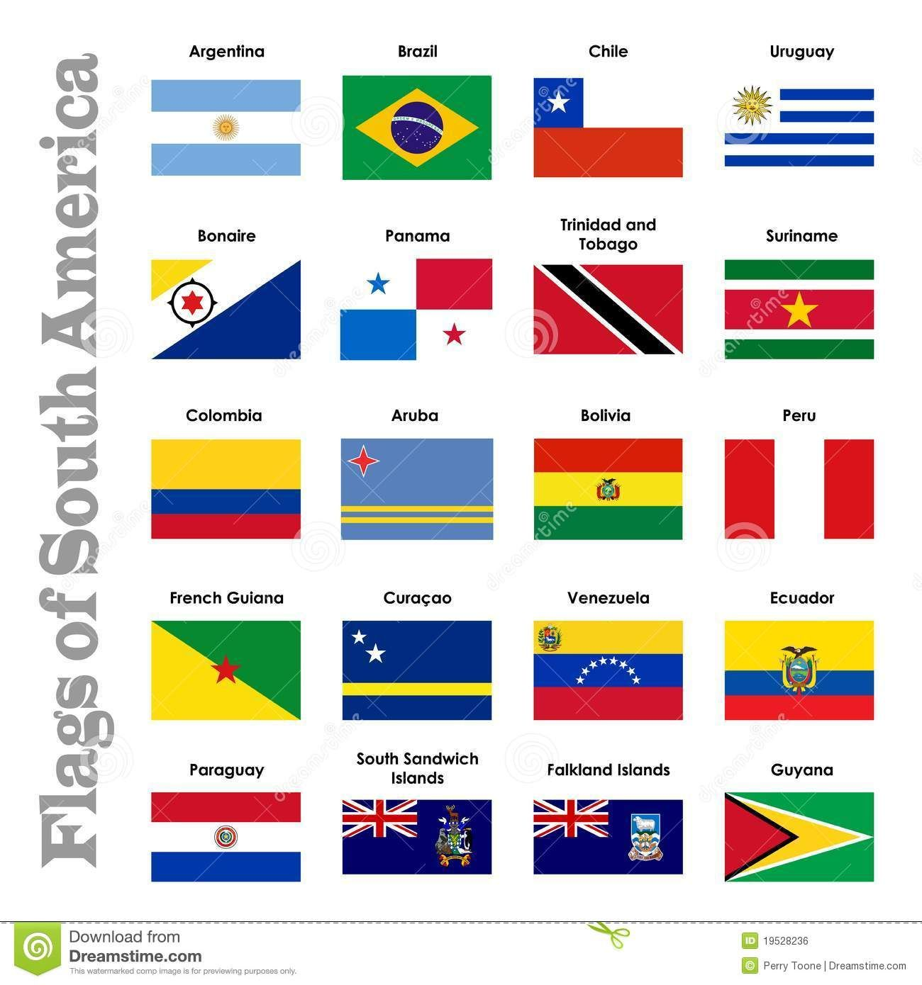 Map Of South America Cherries South America And French - South america map and flags