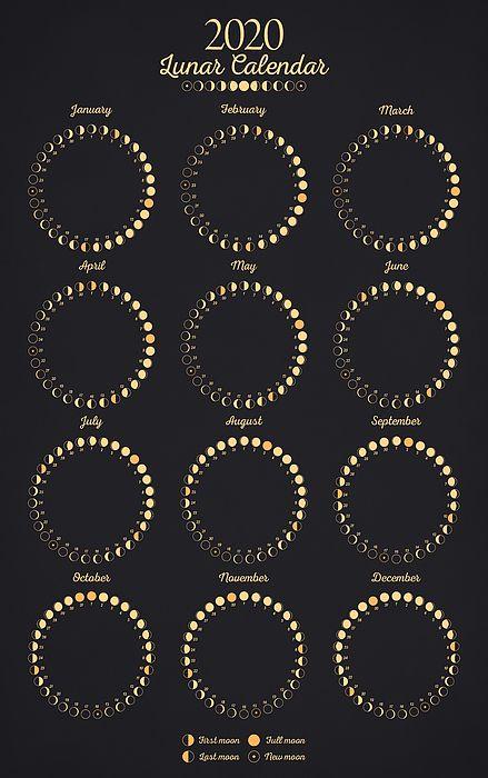 Lunar Calendar 2020 By Zapista Ou Moon Calendar Moon Phase