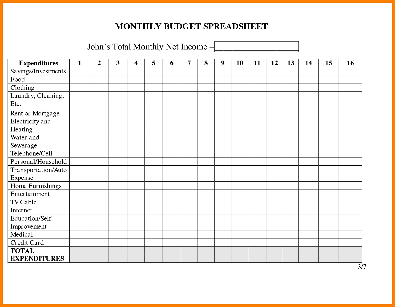 Monthly Bills Excel Template Free Spreadsheets Football Squares Template Spreadsheet