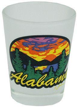 Alabama Frosted Airbrush Shotglass- Sunshine
