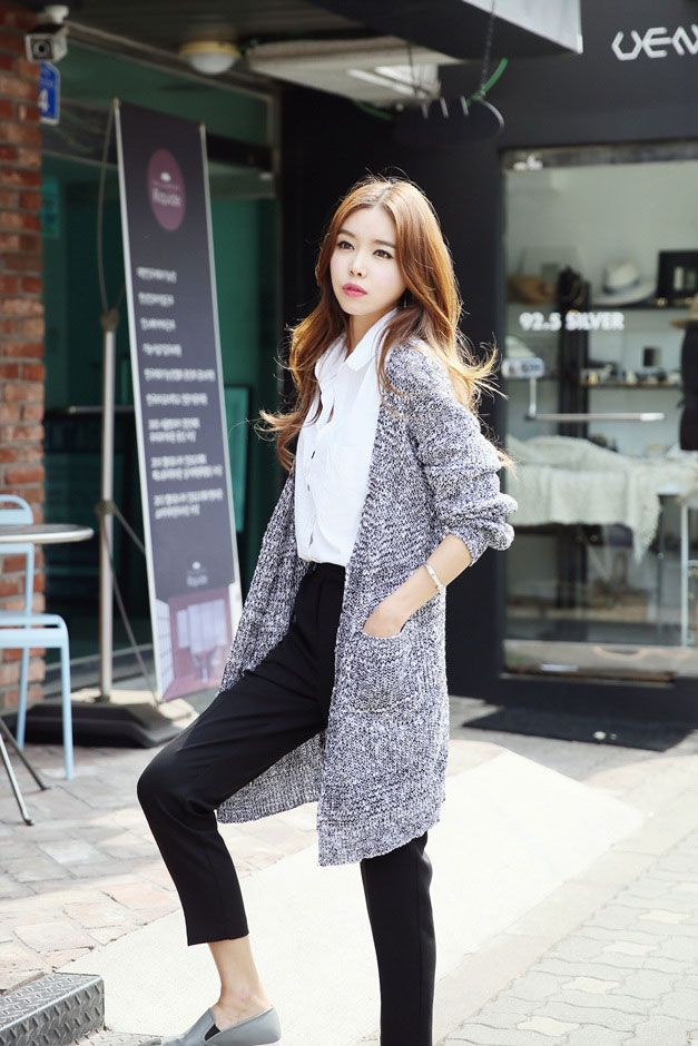 49840d58adc5 Mix Knit Buttonless Cardigan More