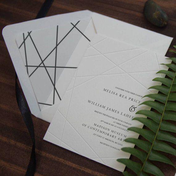 Blind Letterpress Geometric Modern Wedding Invitation