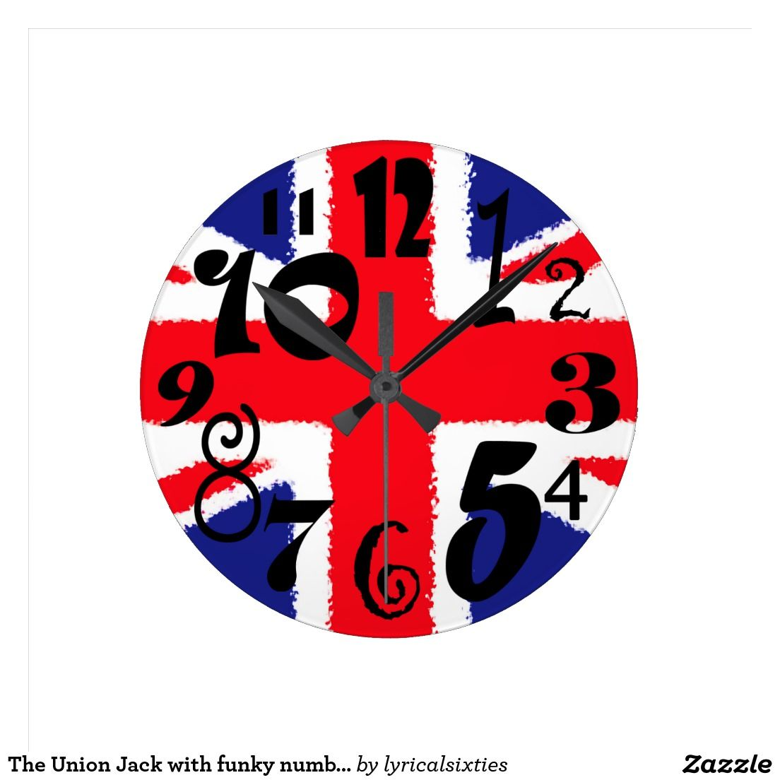 The Union Jack with funky numbers Round Wall Clock