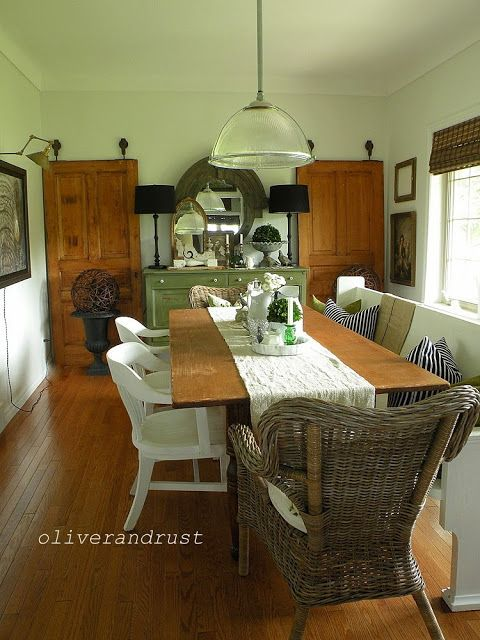 Byholma Ikea rattan chairs, Restoration Hardware Mirror, love the painted sideboard, The Oliver and Rust House Tour 2013