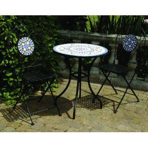 3 piece mosaic bistro garden furniture patio set with round table u0026 2 chairs blue